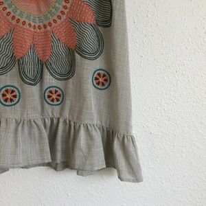 THML Tops - THML Embroidered Flower Tank Top Grey Size L